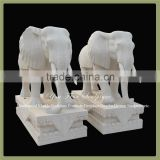 Garden Outdoor Life Size White Marble Elephant Sculpture