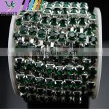 3 FEET 1 Yard SS40 8mm Emerald/Dark Green Crystal Siver Plated Rhinestone Chain Trims Cup Chain Wedding Dress Decoration