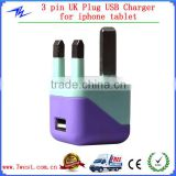 Manufactuer 3 Pin Plug AC Wall Charger Power Adapter, UK Plug USB Wall Charger for iPhone