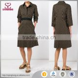Brown and yellow cotton printed shirt dress three-quarter length sleeves mid-length classic collar dress