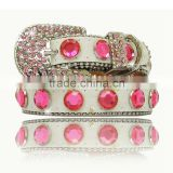 Western Leather Cat Collar Strap Dog Pink Crystal Studded Adjustable Buckle Rhinestone Pet Collars
