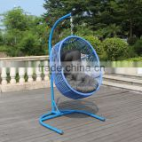 Barcelona Blue single comforable hot sale round rattan wicker hanging chair