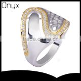 925 sterling silver net shaped letter s ring with gold plated for women