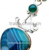 Blue Botswana Agate Green Onyx Jewellery Yellow Emerald Cut Solitaire Diamond Engagement Earrings Simple Pendants