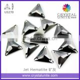 Triangle Sew on Stone Flatback Glass Crystal Jet Hematite for Shoes