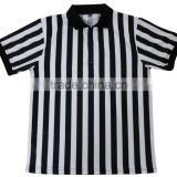 sublimated referee shirt/customized referee shirt with zip front/black white stripe referee shirt