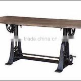 INDUSTRIAL Crank Dining TABLE, INDUSTRIAL furniture drafting Dining TABLE with RECLAIMED wood top