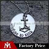 Personality Unisex Stainless Steel SIlver Sink Anchor Charm Necklace with Round Pendant