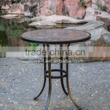 Outdoor garden furniture round ceremic tile top with aluminum frame table set with umbrella hole bar outdoor table (in Foshan)