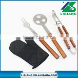 Stainless steel bbq grill tools set with glove and apron