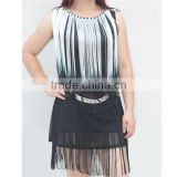 Porpular elegant ladies' tie dye tassel nipped waists dress