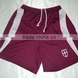 Mens custom 100% polyester coolmax maroon with white mesh panels embroidered tennis shorts