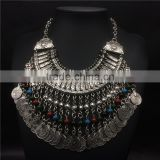 Multilayer out vintage coins color beads pendant necklaces jewelry for women
