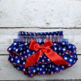 Summer Patriotic Satin Bloomer Outfit Set Newborn Blue And Red Bloomer Baby Star Diaper Cover
