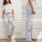 Anly fashion floral pull rope 100% cotton thin comfortable long pants
