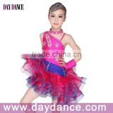 Girls Kids Latin Dance Costumes Red Stage Dance Wear For Child