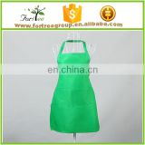 solid color kitchen chef apron with big pocket, unisex two pockets kitchen apron
