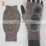 Beautiful Girl Fur Ball Warm Knitting Fingerless Gloves
