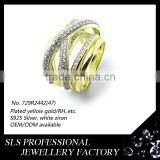 Fashion custom jewelry 925 sterling silver jewelry yellow gold plated with white stone women ring from SLS silver jewelry