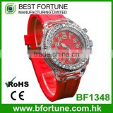 BF1318 ABS Case LED flash 3 hands with Stone silicone strap quartz watch with flashing light