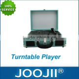 Hot sale portable leather suitcase turntable with MP3 converter