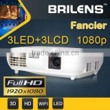 1080P 3 LCD 3 Led Mini Projector New 3D home cinema theater !Wireless connect to iPhone/iPad multimedia video projector