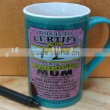 factory outlet white porcelain promotion mugs cups with chalk ,can be wroten or painting