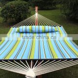 Hammock Quilted Fabric W/Pillow Double Size Spreader Bar Heavy Duty Stylish Blue