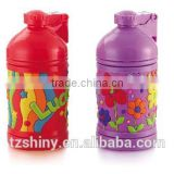 2016 Plastic Tumbler for Children Water Bottle with Heat insulation Cartoon Silicone Band