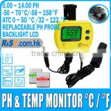 Digital PH Meter Monitor Replaceable Probe separate Temperature Sensor Degree C/Degree F ATC