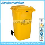 100 liters plastic medical trash can,medical garbage can medical trash can, yellow large medical waste trash can