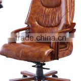 Brown Leather Boss Luxury Wooden Executive Office Chair