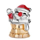 Christmas Day Gifts Red Drip Santa Claus In Chimney Charms wholesale silver bead China Factory silver jewelry