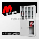 Popular products half glass swing door office filing display cabinet decorative steel furniture