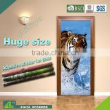 Customized unique cheap waterproof easy peel tiger self adhesive sticker for glass door commercial refrigerator
