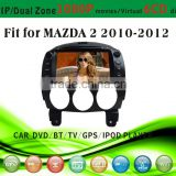touch screen car dvd player fit for Mazda 2 2010 - 2012 with radio bluetooth gps tv pip dual zone