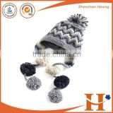 Customize high quality women polar fleece beanie hat pattern gril knitted hat