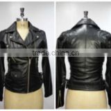 Buff Nappa Leather Jacket Made Through Tumbled Treatment. Color Black