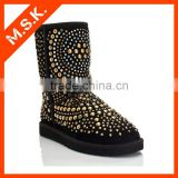 Rivet studded decorative mid calf snow women leather boots
