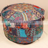 Blue Vintage Sari Fabric Round ottoman Cover Bohemian Footstool Gypsy Antique Pouffe Cushion
