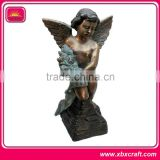 custom metal sculpture baby angel figurine with color painting for home decor