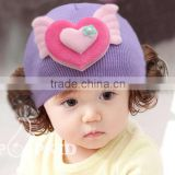 MZ3142 Autumn winter wool knitted Pink cute warm baby lovely fake hair hats