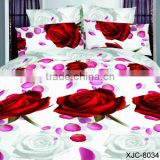 5D bed sheet set bed linen factory 3D red rose duvet cover set