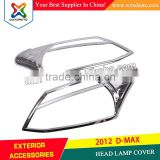 NEW CHROME HEAD LAMP COVER HEADLIGHT COVER 2012 D-MAX ACCESSORIES WHOLESALE ABS CHROME SHINE AUTO AFTERMARKET PARTS