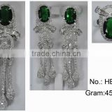HB087 rhodium plated 925 sterling silver main stone wedding jewelry set,big stone silver jewelry sets wholesale from guangzhou
