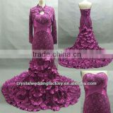 Free shipping high collar long sleeve sweetheart mermaid lace dark purple prom dresses CWFap5114