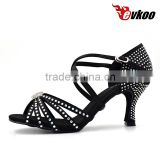 Black diamond woman Latin dance shoes high quality satin with ctystal new design salsa ballroom shoes