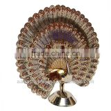 Dancing peacock brass decorative Indian handicraft art piece embossed brass bird figurine