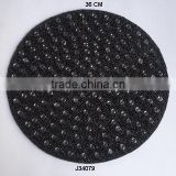 Round Glass bead place mat Black colour with transparent beads available in more colours