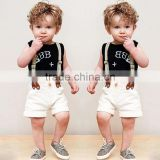 3 Piece Black Shirt White Pant Dress Model Clothes for Children Kids Boys